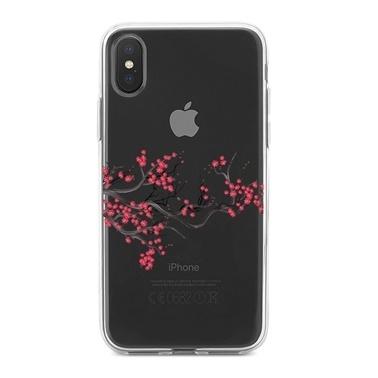 Lopard iPhone Xs Max Kılıf Silikon Arka Koruma Kapak Kiraz Çiçeği Desenli Renkli